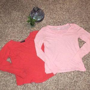 Tops - ✨BOGO Free✨Lot of 2 Long Sleeve Tees Orange & Pink